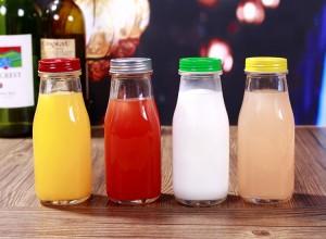 1 litrs 1000 ml metal screw vāks skaidrs stikla pudeles piena dzērienu sulas