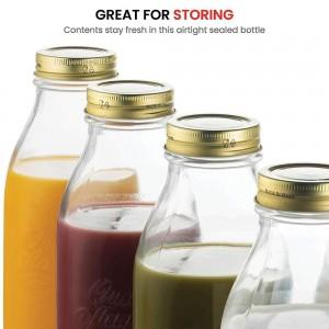 750 ml metal screw lid clear glass bottle for milk beverage juice