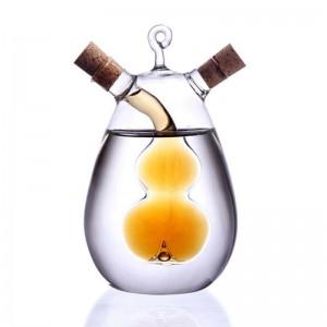 2-Outlet Glass Olive Oil Jar Vinegar Bottle Kitchen Sauce Cruet Dispenser Tool