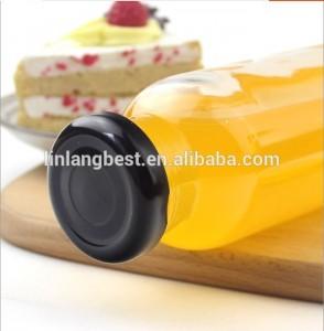 350ml 12oz chakula daraja ziada wazi kioo ufungaji tupu Orange juisi Vinywaji duru kioo chupa na cap
