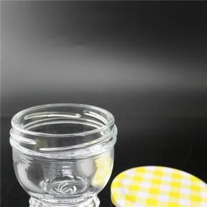 linlang new design crystal white glass jar for caviar