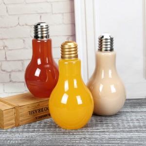 China Suppliers Golden Screw Cap Wholesale Light Bulb Shape Juice glass Beverage Bottle