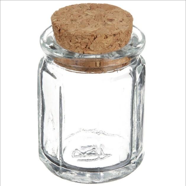 1.2 oz Clear Glass Cork Top Octagon Jar