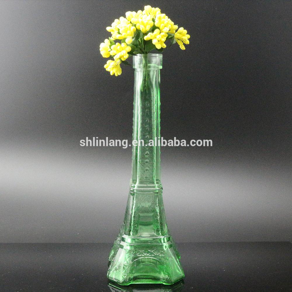 Vairumtirdzniecība Clear zaļa krāsa stikla Eifeļa tornis Vāze dekorēšanai
