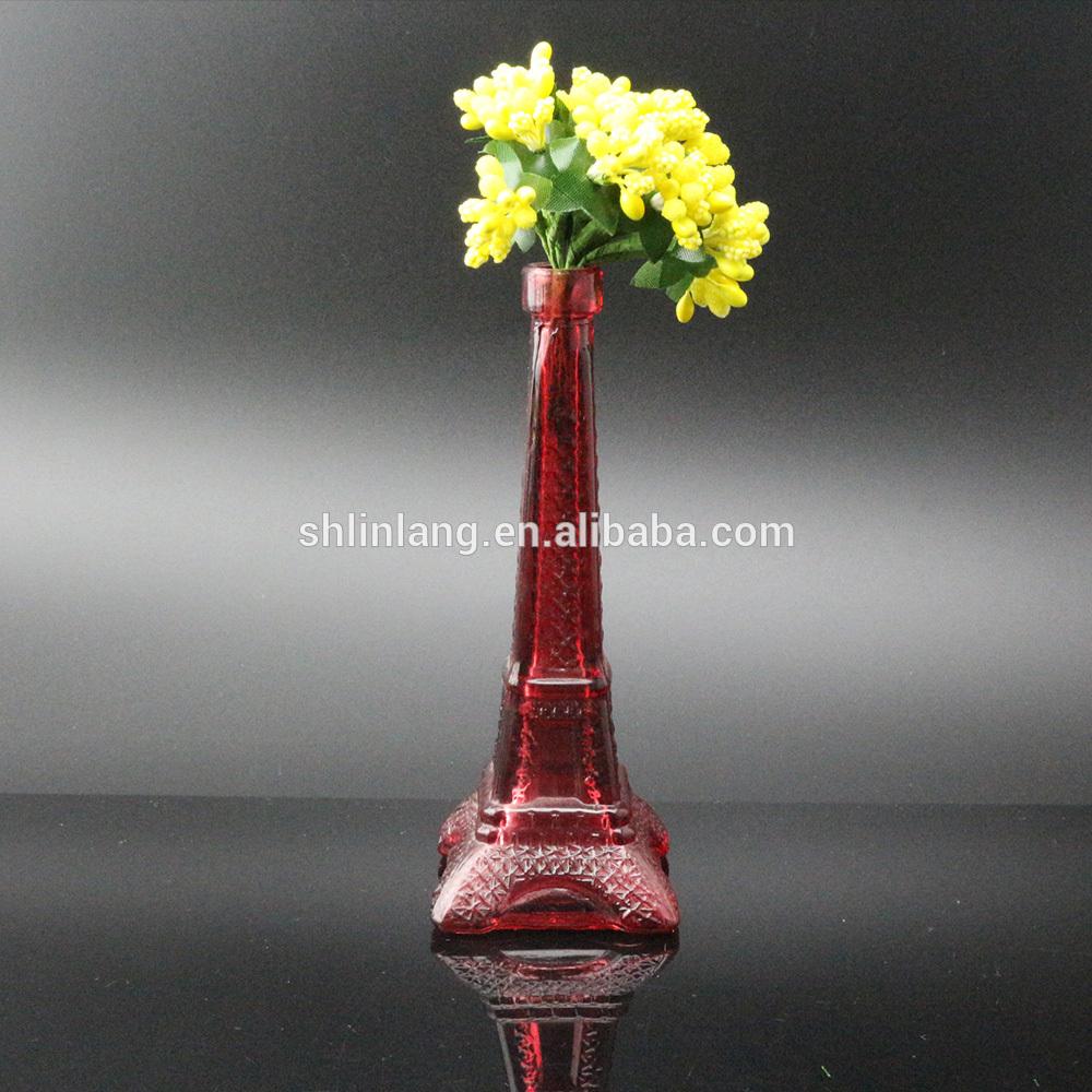 Vairumtirdzniecība Red Krāsa Brūna krāsa stikla Eifeļa tornis Vāze dekorēšanai