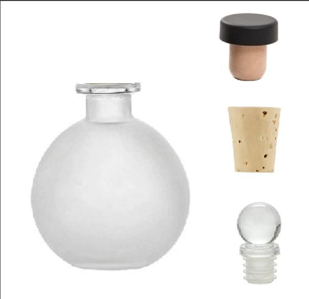Spherical Clear Glass Bottle 8.5 oz Cork ball bottle round bottle for oils witch spells wedding favors bath bubbles