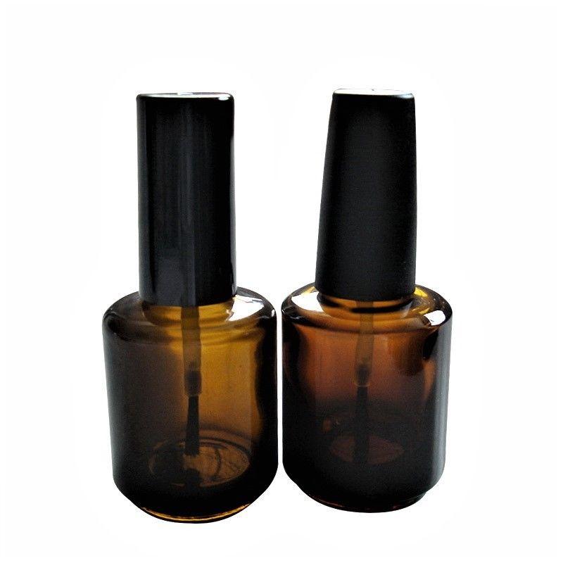 Hot sale 15ml Amber Glass Nail Polish Bottle With Brush