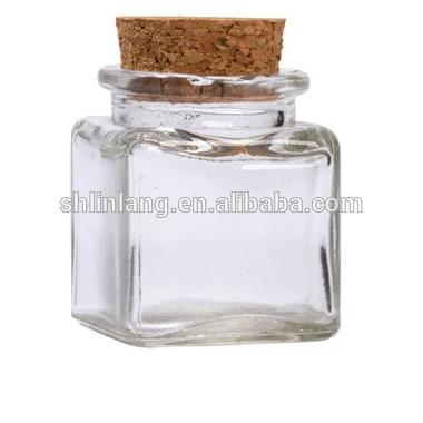 Ķīna Piegādātāji 24oz 12.5 oz 10 oz 1,4 oz Square Stikla Flint Cork Top Jar
