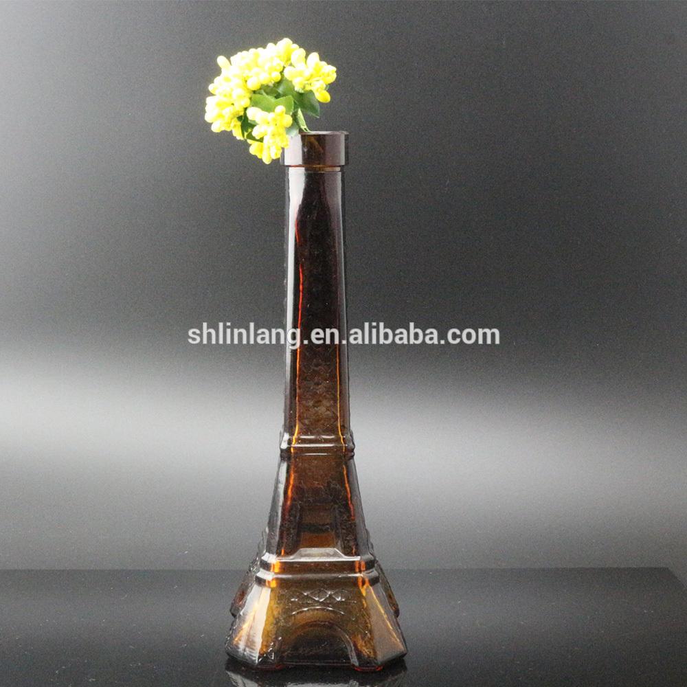 Vairumtirdzniecība Clear Brown Color stikla Eifeļa tornis pudeles dekorēšanai