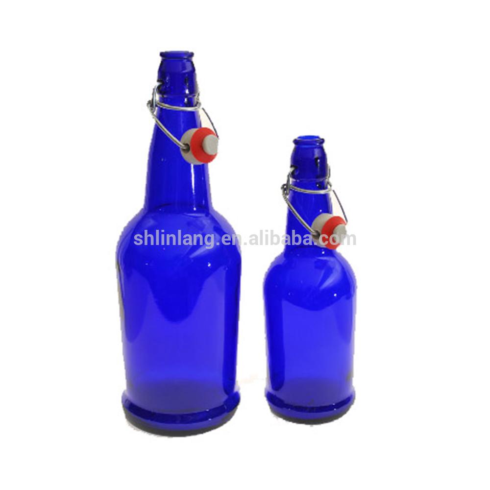Shanghai Linlang wholesale cobalt blue swing top bottles
