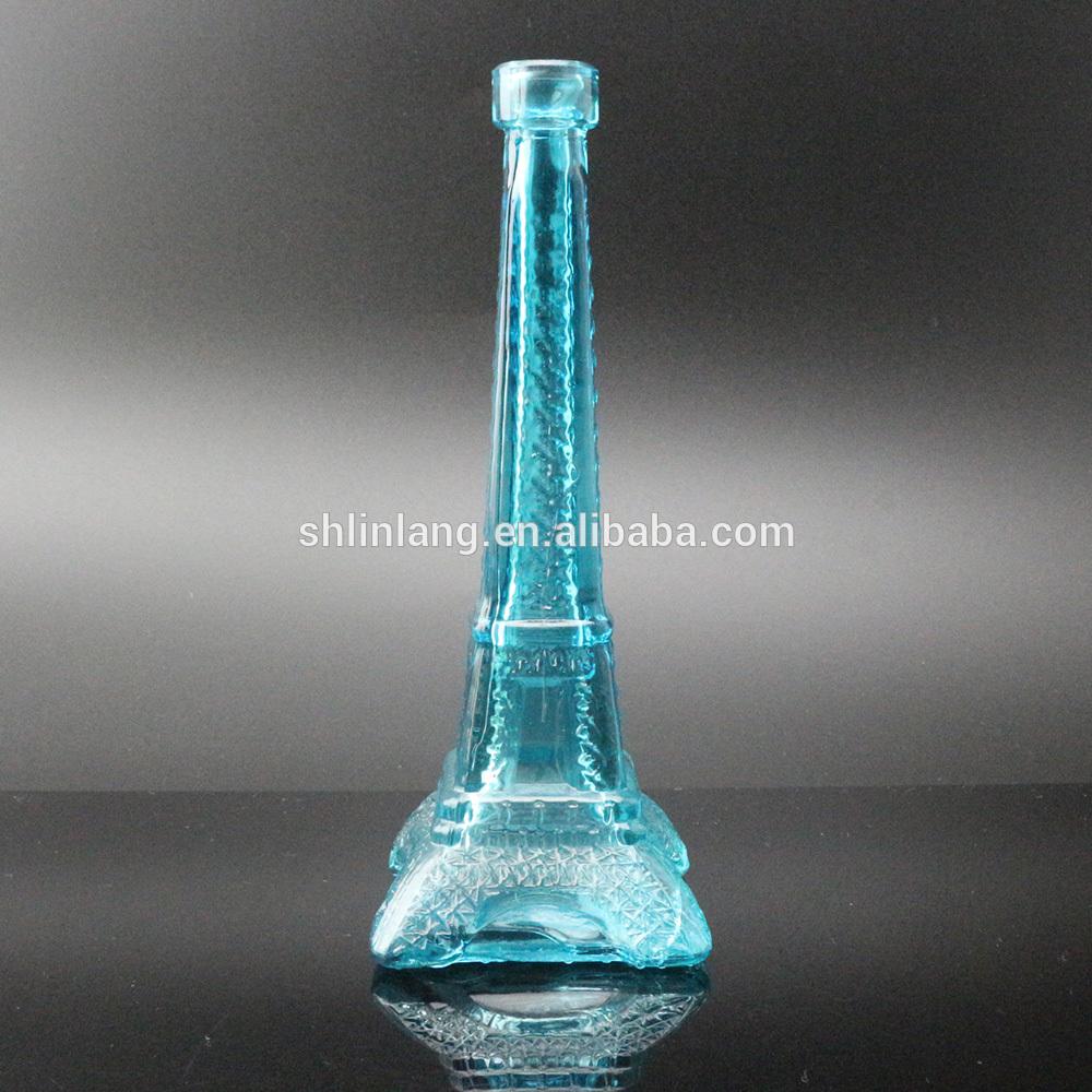 Wholesale Light Blue Color glass Eiffel Tower Vase For Decoration