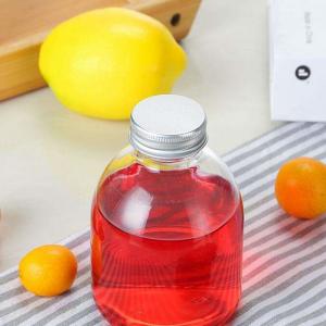 Stock 15cc150ml 280ml 350ml 500ml clear milk tea fruits juice glass bottle with aluminum lid