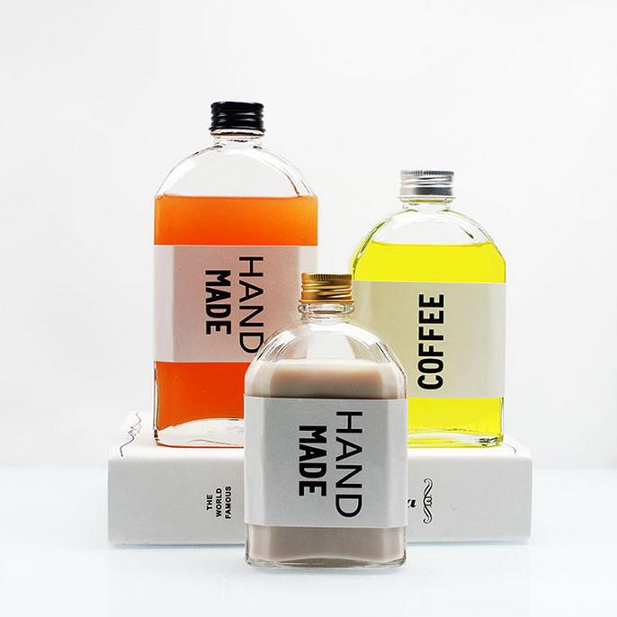 Stock15cc150ml 280ml 350ml 500ml skaidrs piena tēja cilindru augļi sula stikla pudele ar alumīnija vāku Featured attēlu