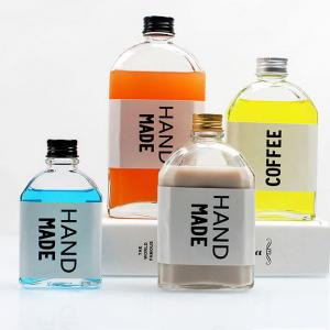Stock15cc150ml 280ml 350ml 500ml skaidrs piena tēja cilindru augļi sula stikla pudele ar alumīnija vāku