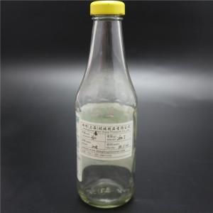 shanghai factory 380ml glass sauce bottle metal cap for ketup